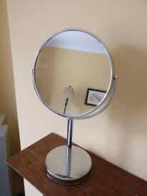 Double sided chrome shaving & make-up mirror. Standard and 3x magnifying.