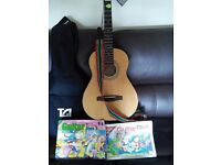 Squier acoustic guitar model number MA1 carry case and books.