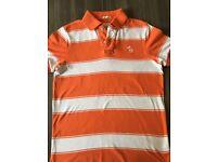 Abercrombie & Fitch men's polo shirt size S - orange/white stripe