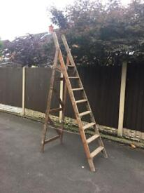 large set of vintage wooden step ladders shabby chic project or wedding venue decor best set around
