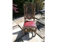 carved oak table & chairs