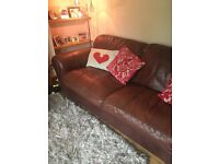 Real leather sofa set, large 3 seater + armchair + footrest.