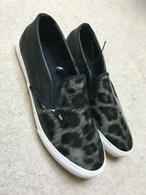 New half leather leopard print plimsolls