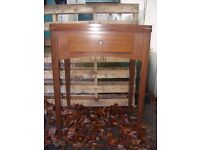 Singer sewing machine cabinet table, vintage laptop table, c. 1950