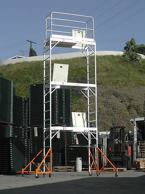 Aluminum Scaffold Rolling Tower 17 Standing High With Hatch Decks Guard Rail