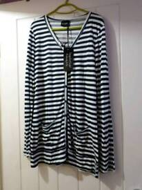 Brand-new ladies stripe cardigan size 14