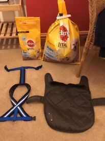FOR SALE - Used dog coat, puppy food x 2 and dog harness