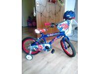 "kids 16"" Spiderman bike with helmet, excellent condition."