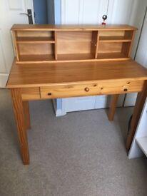 1-draw pine desk with desktop storage unit