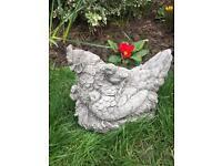 Stone garden Hen and chicks ornament, lovely detail. New