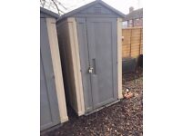 KETER APEX 6 x 4 GARDEN PLASTIC SHED (ONE SHED - RIGHT SHED WHERE THERE ARE A PHOTO OF 2 SHEDS)