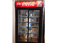 Coca Cola Drinks Fridge - Commercial Newsagent Grocery Shop Sliding Double Door Refrigerator