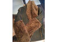 Fashionable denim and faux fur coat size 12/14