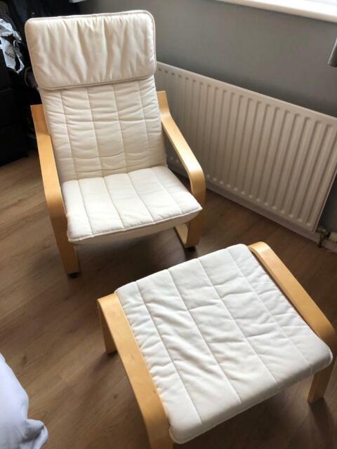 Sensational Ikea Poang Chair And Foot Stool In Kingsteignton Devon Gumtree Ibusinesslaw Wood Chair Design Ideas Ibusinesslaworg
