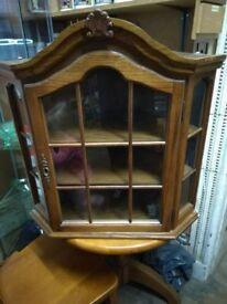 Oak wall mounted corner cabinet