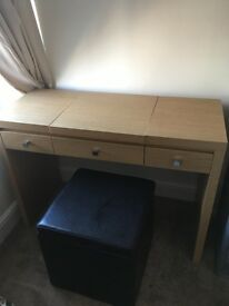 Dressing table with ottoman style stool