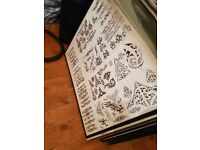 Tattoo flash racks with flash