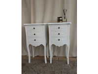 White 3 Drawer FrenchStyle Bedsides x 2