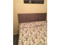 Grey suede headboard for double bed