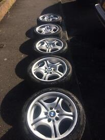 """Genuine 17"""" BMW set of 5 alloys and tyres"""