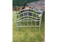 Silver single metal bed frame