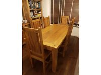 "Natural Solid Mango Dining Set - 5ft 6"" Table with 6 Wooden Chairs"