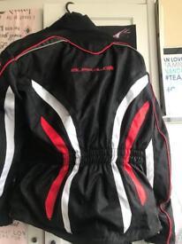 Buffalo motorbike jacket, gloves and nitro racing helmet