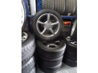 """ORIGINAL 16"""" 4 STUD FIVE SPOKE ALLOYS ANTHRACITE GREY JUST BEEN REFURBD NEW TYRES ALL ROUND £200ono"""