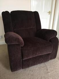 Argos Collection Shelly Fabric Manual Recliner Chair - Chocolate (New ex display)