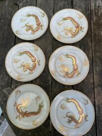 Old Japanese Lithophane Geisha Girl Eggshell Dragon Ware China Tea set with Cups & Saucers