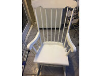 """ERCOL"" style wooden rocking chair in white"
