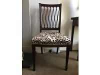 Antique Cuban Mahogany Side Chair upholstered in William Yeoward fabric.
