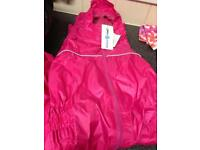 Pink waterproof rain suit outfit