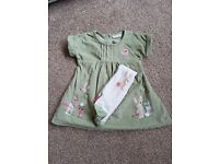 Next Green Bunny Dress and Tights - Size - 6-9 Months