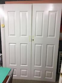 """used white double doors 54"""" wide"""