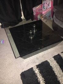 Large glass and marble effect coffee table