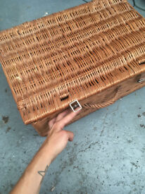 Medium-Sized Wicker Basket with Leather Straps + Handle