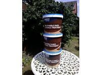 Fence Paint Medium Oak (Deco Style). Three 5 litre tubs, two unused, one tub 90% full.