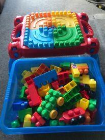 Mega Bloks table and blocks