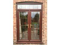 Brown Rosewood UPVC Glass Patio French Double Doors Window