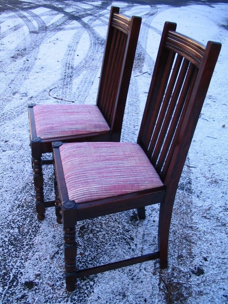 2 - pair of antique vintage chairs, barley twist chairs classic English oak dining chairs c.1920