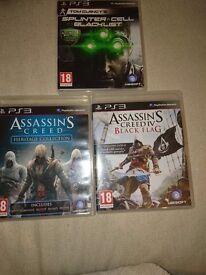 Ps3games,assassins creed heritage collection, assassins creed iv black flag, splinter cell blacklist