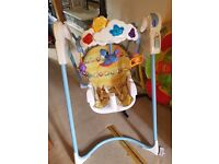 Baby swing (rocks but no sound) and baby bouncer