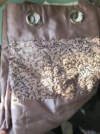Ring top mauve/ greyish sequin/satin panel curtian