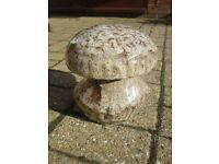 8 INCH CERAMIC MUSHROOM. PREVIOUSLY HOUSED IN THE GARDEN, AS SUCH HAS ITS OWN UNIQUE PATINA