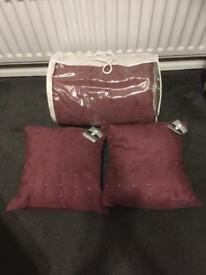 Faux suede throw and 2 cushions