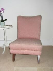 Dusky pink patterned Nanny chair for hall, lounge, bedroom. Could be upholstered.