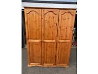 Lovely triple pine wardrobe AND matching tallboy drawers (see photos)