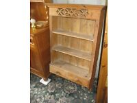STRIPPED PINE VERY ORNATE WALL SHELVING - LOWER DRAWERS. VERY ATTRACTIVE. VIEWING/DELIVERY POSSIBLE