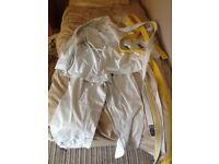Cimac xl jujitsu uniform with belts white to yellow